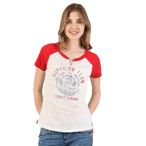 WOMEN T-SHIRT SHORT SLEEVE WITH SUPERIOR TEAM PRINTED DESIGN OFF WHITE