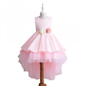 PARTY DRESS WITH LONG BACK LACE SKIRT FOR GIRLS WITH GIFT BOX