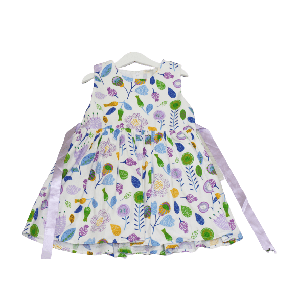 GIRL DRESS FRUITS AND FLOWER DESIGN PURPLE AND WHITE
