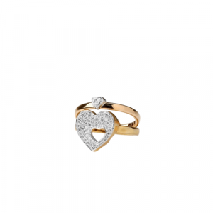 YELLOW & ROSE GOLD PUZZLE HEART RING WITH DIAMONDS MODEL 0025