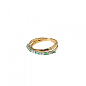 YELLOW GOLD WITH EMERALD & DIAMONDS RING FOR EMERALD LOVERS MODEL 0026