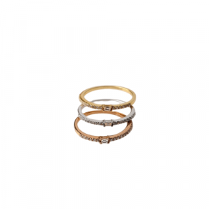 THREE RINGS: WHITE, YELLOW & ROSE GOLD WITH DIAMONDS MODEL 0027
