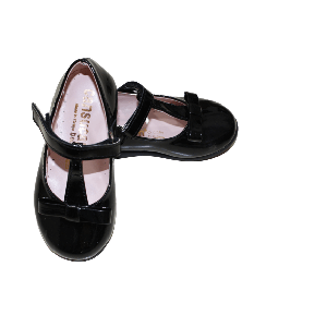 GIRL SHOES WITH STRAP AND RIBBON BLACK