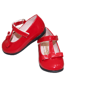 GIRL SHOES WITH STRAP AND RIBBON RED