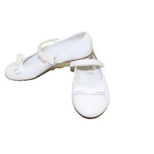 GIRL SHOES WITH TWO RIBBON WHITE