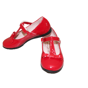 GIRL SHOES SHINNY RED WITH RIBBON