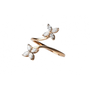 ROSE GOLD WITH DIAMONDS FLORAL SHAPED RING MODEL 0029