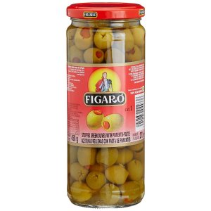 FIGARO OLIVES STUFFED OLIVES GREEN W PIMIENTO PASTE 575GM