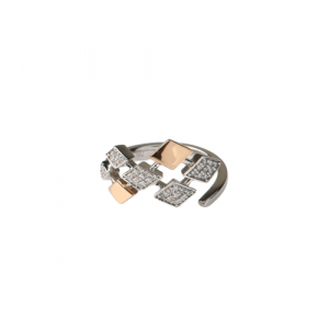 WHITE & ROSE GOLD WITH DIAMONDS SHAPED RING MODEL 0031