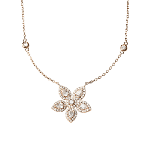 ROSE GOLD WITH DIAMONDS AND FLOWER PENDANT NECKLACE MEODEL - 009