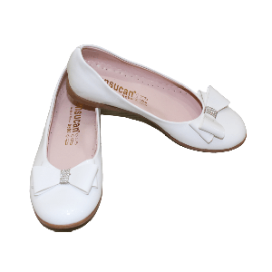 GIRL SHOES WITH RIBBON AND BROWN OUT SOLE PLAIN WHITE