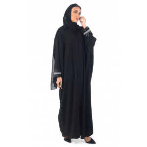 ABAYA EVENING OVERLAPPED WITH BEADS AND SEQUINED CUFF FABRIC BLACK & WHITE A0166