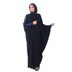 ABAYA OCCASION OVERLAPPED WITH BLUE FABRIC,TOPPED WITH BEAD WORK  TL054