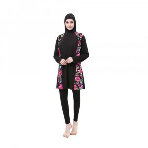MODEST HOODED SWIMWEAR SET WITH PINK FLORAL DESIGN