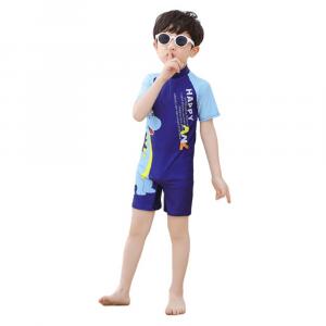 KIDS DINOSAUR SWIMWEAR  FOR BOYS SHORT SLEEVE BLUE