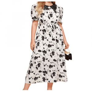 LUXURY LACE COLLAR LONG DRESS WITH BLACK FLORAL PRINT