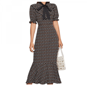 EUROPEAN LOTUS SLEEVE DRESS WITH BOW KNOT TIE COLLAR