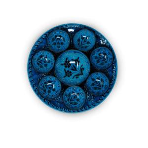 ROUND BLUE CERAMIC PLATES SET