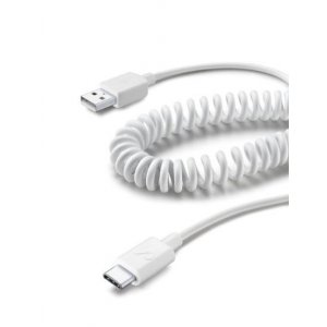 CELLULARLINE USB CABLE COILED TYPE-C WHITE USBDATACOIUSBCW