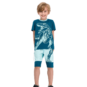 TWO PIECES SHORT SET WITH DINO ROAR PRINT