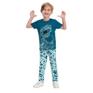 TWO PIECES PANTS SET WITH DINOSAUR PRINT BLUE