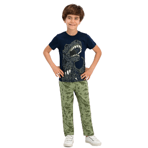 TWO PIECES PANTS SET WITH DINOSAUR PRINT NAVY