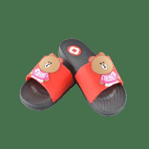 KIDS SLIPPER WITH BEAR DESIGN RED