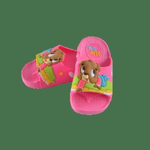 GIRLS SLIPPER WITH BROWN PUPPY DESIGN PINK