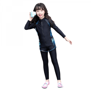 KIDS SWIMWEAR 3 PIECE RASH GUARDS SET OUTFIT FOR GIRLS LONG SLEEVE
