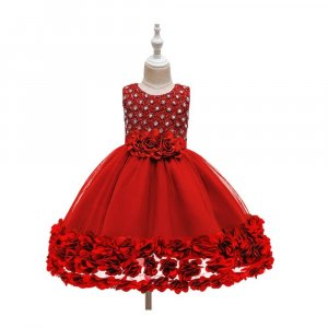EMBROIDERED DRESS WITH FLOWER LACE FOR GIRLS WITH GIFT BOX