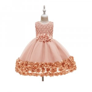 EMBROIDERED DRESS FOR GIRLS WITH GIFT BOX PINK
