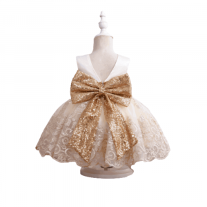FORMAL GOWN SEQUIN FOR KIDS WITH BIG BOW WITH GIFT BOX