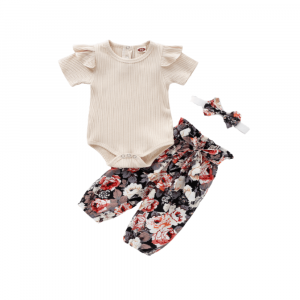 SHORT SLEEVE ROMPER WITH FLORAL PANTS AND HEADBAND FOR BABY