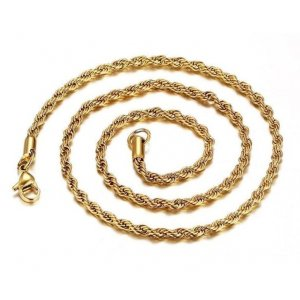 Gold Plated Chain For Fashion Twisted Braided Chains Necklace 3MM