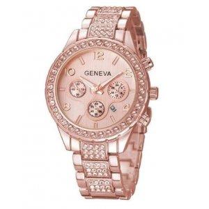Women Geneva Quartz Watch Ladies Luxury Crystal Rhinestone Rose Gold