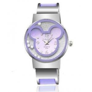 Disney Mickey Mouse Alloy Bracelet Watches Women Wrist Watch Purple
