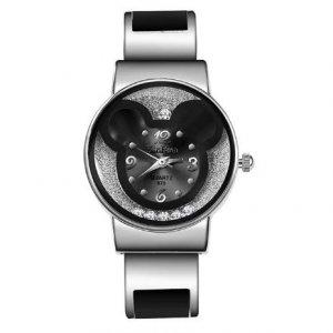 Disney Mickey Mouse Alloy Bracelet Watches Women Wrist Watch Black