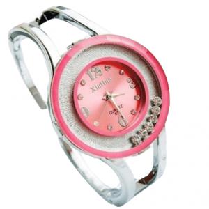 Fashion Watches Women Stainless Steel Bracelet Bangle Rhinestone Pink