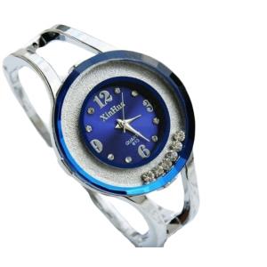 Fashion Watches Women Stainless Steel Bracelet Bangle Rhinestone Dark Blue