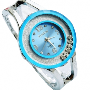 Fashion Watches Women Stainless Steel Bracelet Bangle Rhinestone Sky Blue