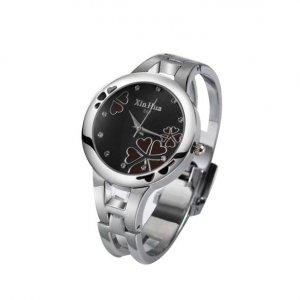 Stainless Quartz Sport Watch Women Bangle Bracelet Watch Rose Brown