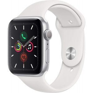 APPLE WATCH SERIES 5 GPS 44MM SILVER ALUMINIUM CASE WITH WHITE SPORT BAND - S/M & M/L