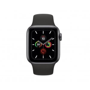 APPLE WATCH SERIES 5 GPS 44MM SPACE GREY ALUMINIUM CASE WITH BLACK SPORT BAND - S/M & M/L