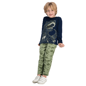 TWO PIECES PANTS SET WITH DINO PRINT