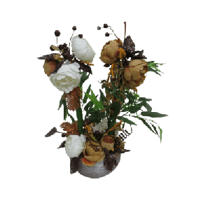 ARTIFICIAL BOUQUET FLOWERS WITH GRAY VASE