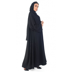 ABAYA EVENING OVERLAPPED WITH SIDE DETAILS OF BLACK LINE BEADS BLACK A0128