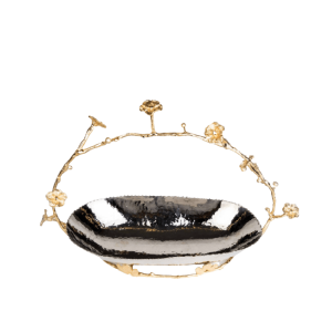 LUXURY SERVING BOWL WITH GOLD PLATED HANDLER