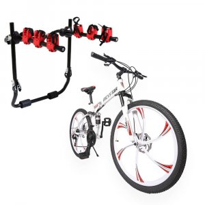 BICYCLE FOLDING MOUNTAIN 26 INCH AND MOUNTED BICYCLE CAR CARRIER RACK SET