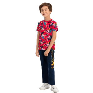TWO PIECES PANTS SET WITH GO BANANA PRINT RED