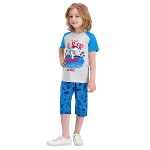 TWO PIECES SHORT SET WITH SURFER SHARK PRINT
